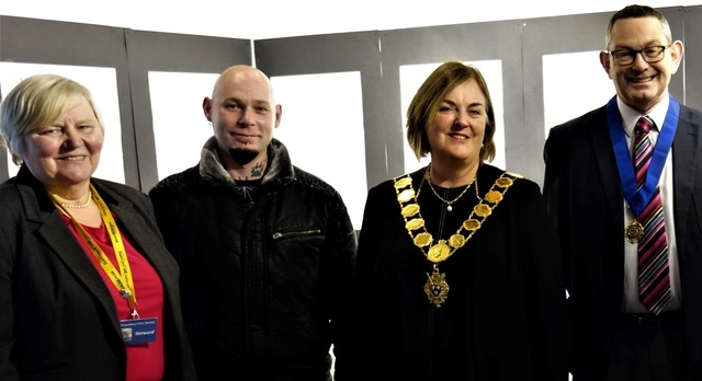 Bibbs Cameron V Chairman Shrewsbury Civic Society  David Lupine Art Gallery Manager Mayor Jane Mackenzie